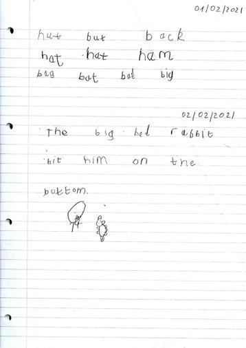 Oliver's fabulous writing using lines.