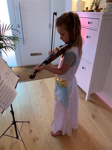 Sophie practising the violin