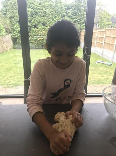 Alish making dough for naan bread