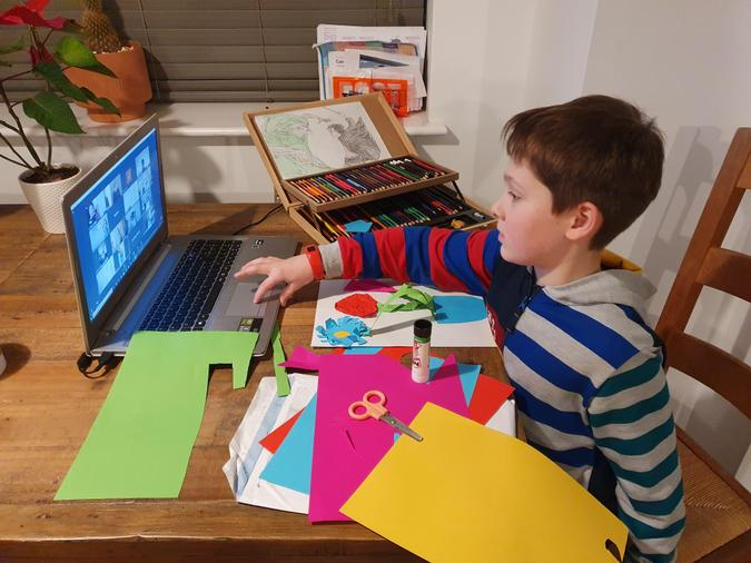 Thomas enjoying Art club