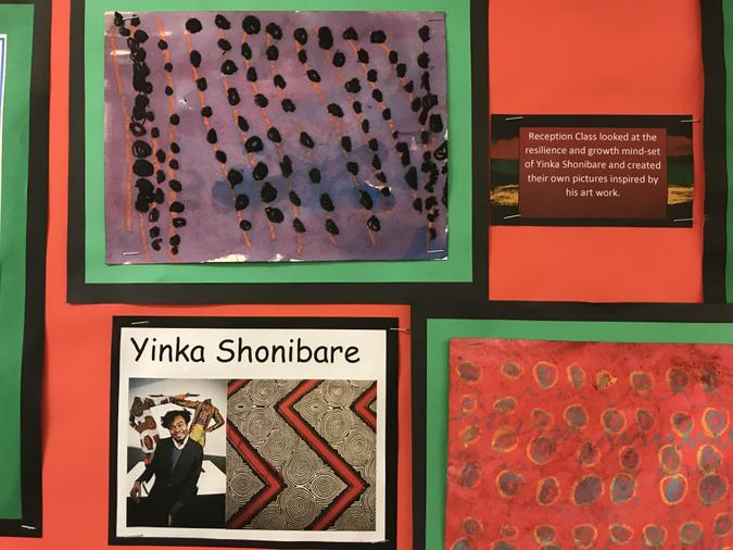 Y1 looked at the art work of Yinka Shonibare, he is a British / Nigerian artist.