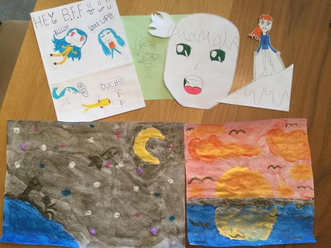 rocket to the moon, sunset and other art