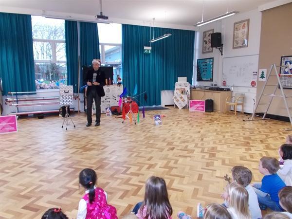 Mr Tinsel showed us lots of magic tricks.