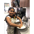 Mixing the flour