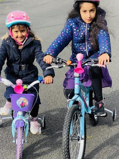 Aisha enjoying a bike ride