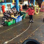 We have been using words to describe different lines that we see, then we made some lines of our own using ropes on the playground. 1