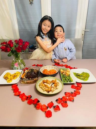 Ella enjoying a special valentine meal - beautiful.