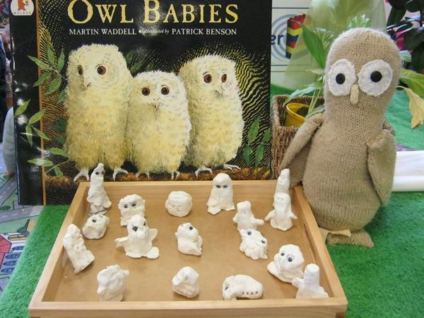 We made owl baby models with clay