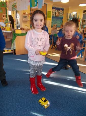 We have been using the remote control cars.