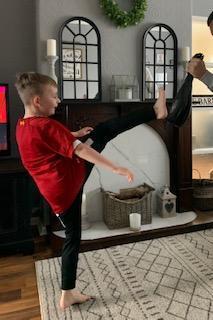 Jacob practising taekwondo