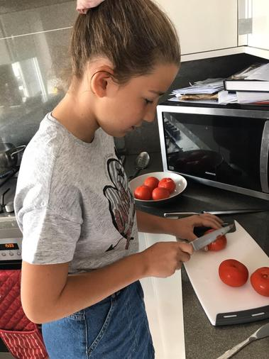 Removing skin on the tomatoes