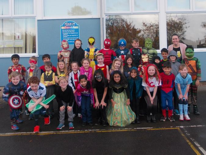 Year 3 dressed up as heroes and superheroes for Children In Need.