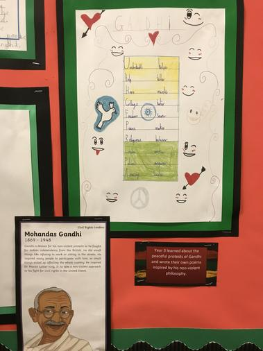 Y3 learned about the peaceful protests of Gandhi and wrote their own poems inspired by him