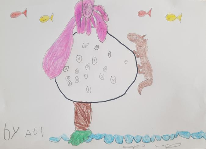 'It's a giant moon with an octopus... Fish are flying.. and birds are swimming.' Ali