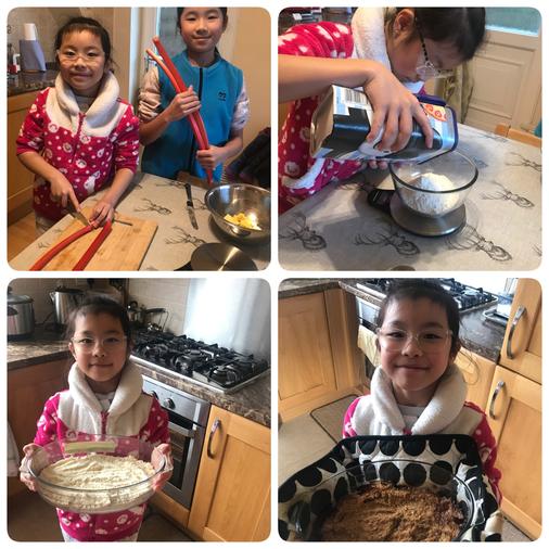 Caitlan followed a recipe to make a delicious crumble