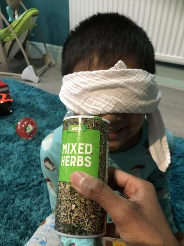 Rana using his sense of smell to identify.