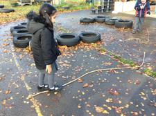We have been using words to describe different lines that we see, then we made some lines of our own using ropes on the playground. 4