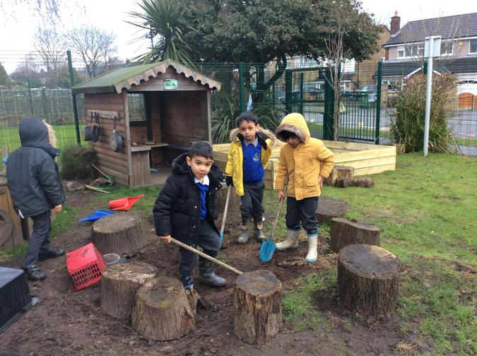 Digging for minibeasts.