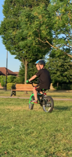 Jacob enjoying a bike ride.