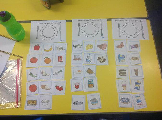 Sophia completed the food sorting activity.