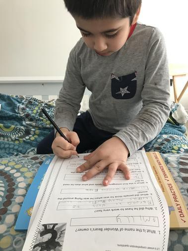 Saad busily writing