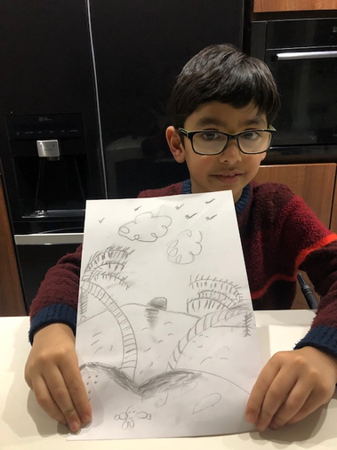 Ali has been sketching with charcoal - great!