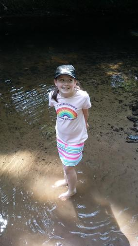 Annabel cooling off in the River Bollin!