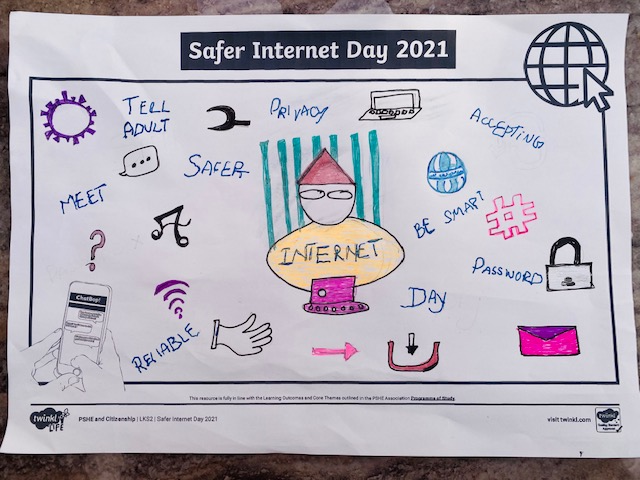 Hamza created a great poster to remind others about internet safety