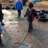 We have been using words to describe different lines that we see, then we made some lines of our own using ropes on the playground. 3