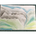 a river flowing down from the mountains in pastel