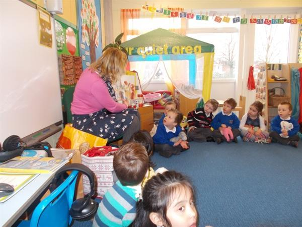 Auntie Jane read us a story about a new baby.
