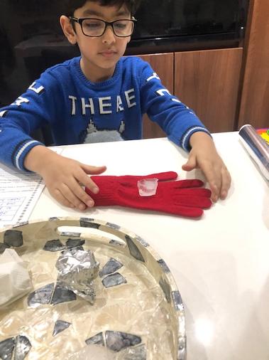Ali enjoyed investigating the ice cubes