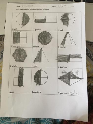 Sameer's fractions work