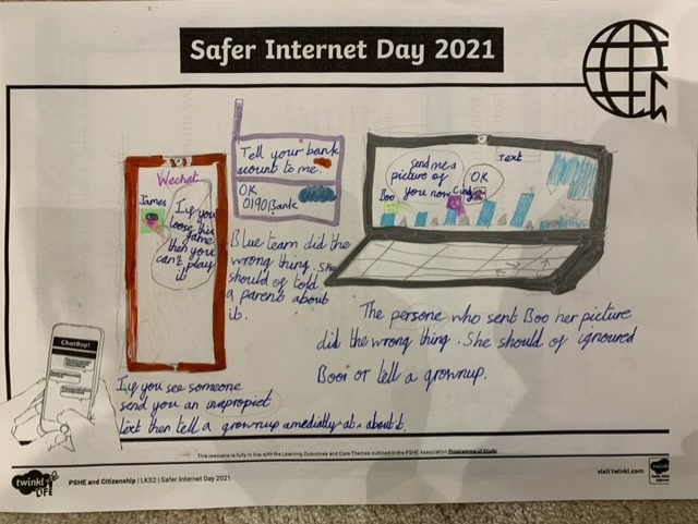 Ella created a super poster to explain how to keep safe on the internet
