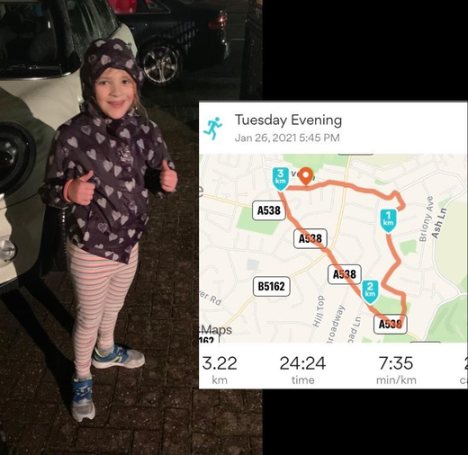 Jasmine's been running - look how far she went - well done!