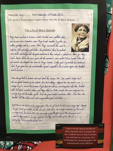 Y4 wrote about Mary Seacole who is known for her medical work in the Crimean war.
