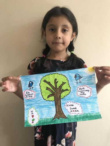Fatimah's finished 'Save the tree' poster.