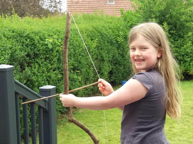 Matlida's homemade bow and arrow - great!