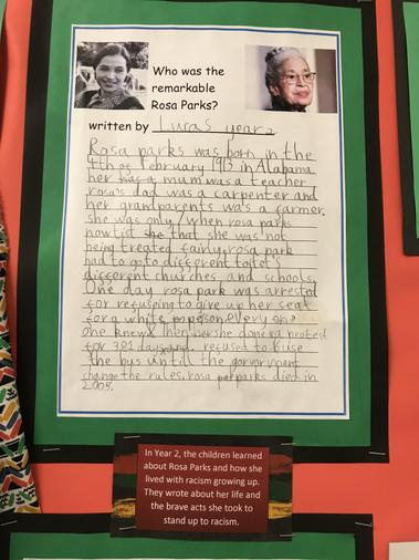 Y2 learned about Rosa Parks and how she lived with racism growing up.