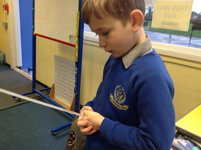 Nico measuring the temperature of his fist