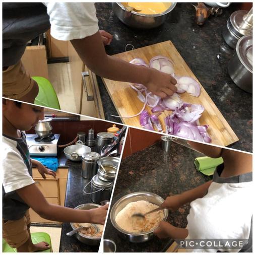 Rana cooking onion bhajis