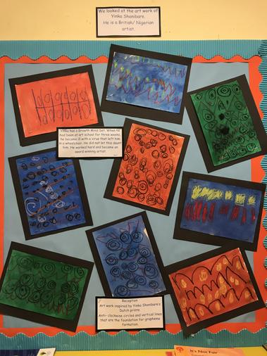 Art work by Reception children, inspired by Yinka Shonibare's Dutch prints.