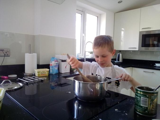 Baking brownies and chocolate biscuits