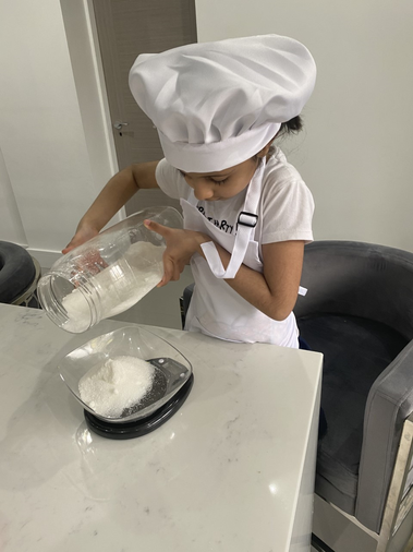 weighing out the ingredients