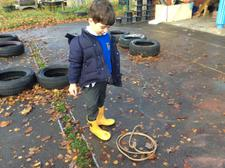 We have been using words to describe different lines that we see, then we made some lines of our own using ropes on the playground. 6