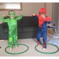 Keeping fit, superhero style!  We love Joe Wicks.
