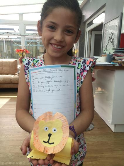 Maya's Lion Acrostic Poem and paper Model