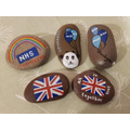 Ellise and her family painted these pebbles