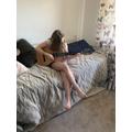 Devon has been practising her chords on her guitar