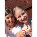 Chloe and her mum enjoying some scones.